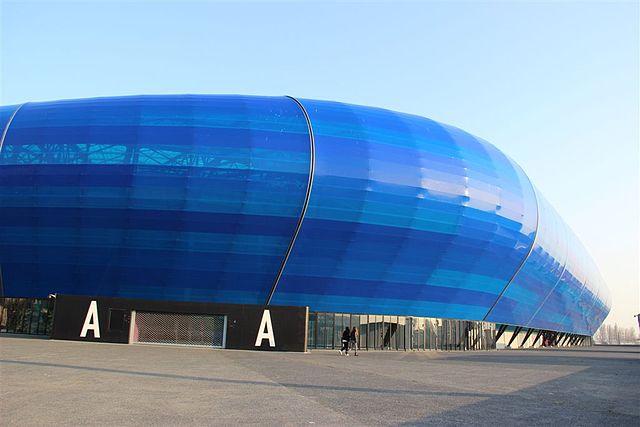 Le stade Océane au Havre, les parties bleues sont composées de Téflon