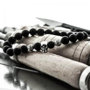 Bracelet Tête de Mort Perles agate noires et argent massif Casteld – 75€